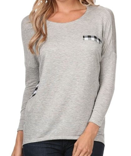 Plus Size Knit Plaid Long Sleeve in Grey