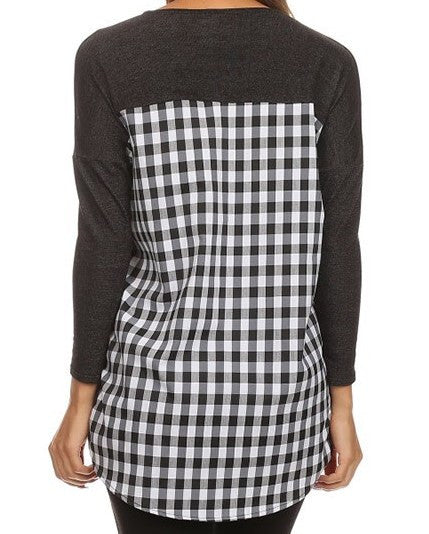 Plaid Knit Long Sleeve Shirt in Black