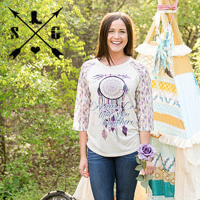 Dreams Can Take You Anywhere on Cream with Arrow Design Lace Sleeves - Southern Grace Outfitters