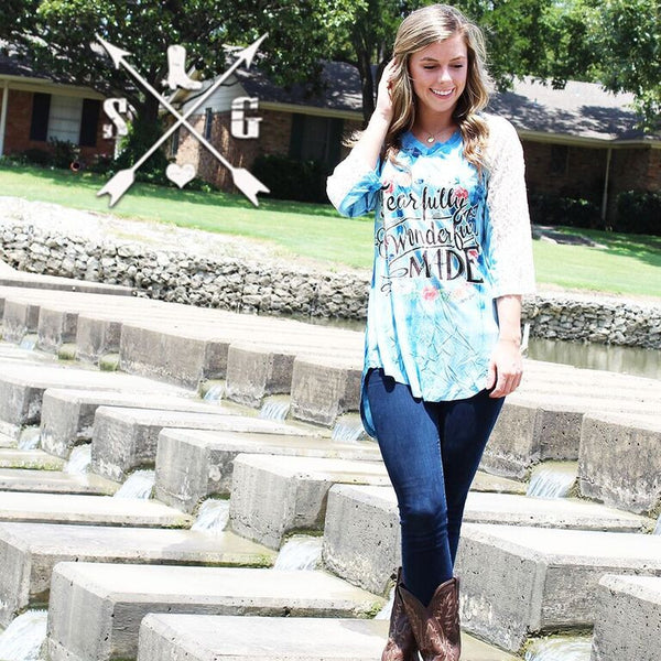 Fearfully, Wonderfully Made on Blue Tie Dye with White Lace Sleeve Accent - Southern Grace Outfitters