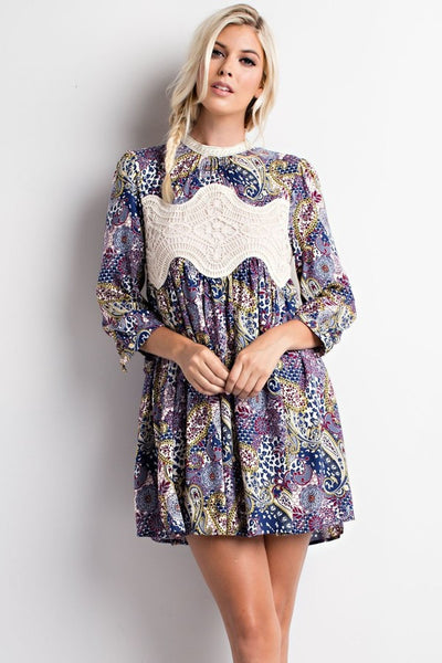 Starry Night Printed Long Sleeve Dress