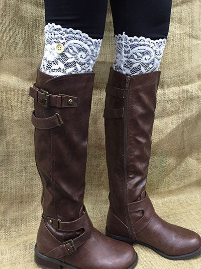 Black Lace Boot Topper with Button