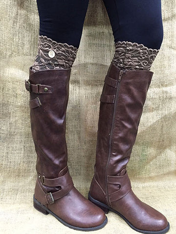 Brown Lace Boot Topper with Button - Southern Grace Outfitters