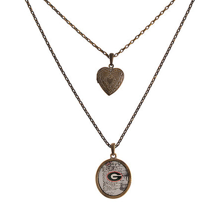 Georgia Home State Necklace with Heart Earrings in Gold