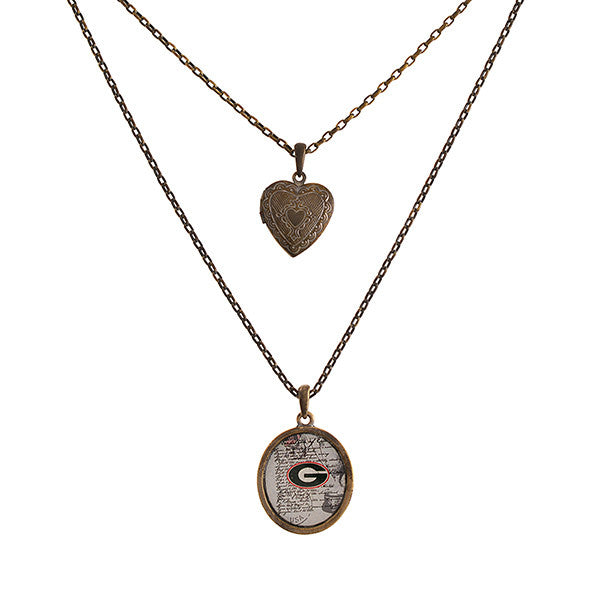 6a105ec582f11b Georgia Necklace with Heart Shaped Locket – Southern Grace Outfitters