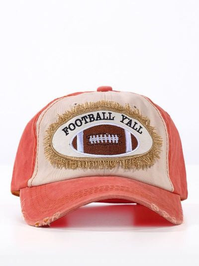 Football Y'all Patch on Distressed Orange and Cream Hat