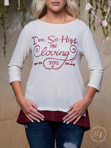 I'm So High on Loving You Cream Tunic with Maroon Lace Accent