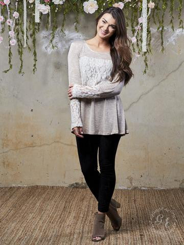 Wrapped in Lace Tunic in Beige