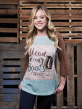 Head Over Boots For You Patch on Mint Raglan with Brown Lace Sleeves