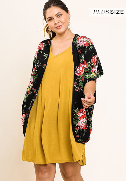 38eac1025b3614 Plus Size Floral Print Open Cocoon Kimono – Southern Grace Outfitters