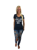 A Mom's Work Is Never Done on Heather Navy - CLOSEOUT