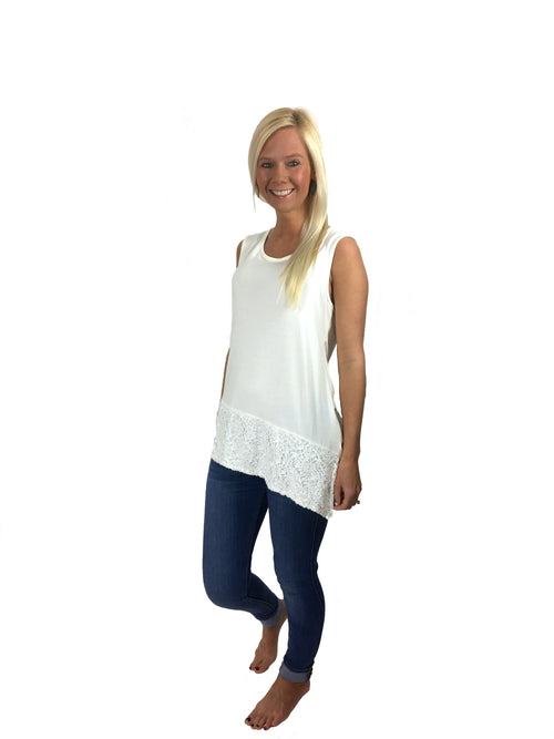 Sequin Panel Sleeveless Top in White