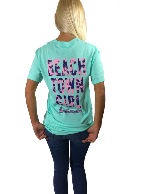 Beach Town Girl on Seafoam Tee
