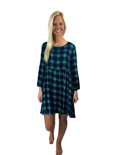 Plaid Print Flared Dress - CLOSEOUT