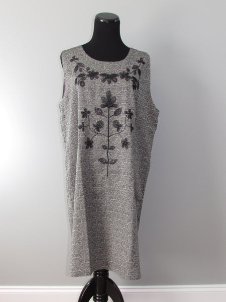 Embroidered Day Dress in Gray - Southern Grace Outfitters