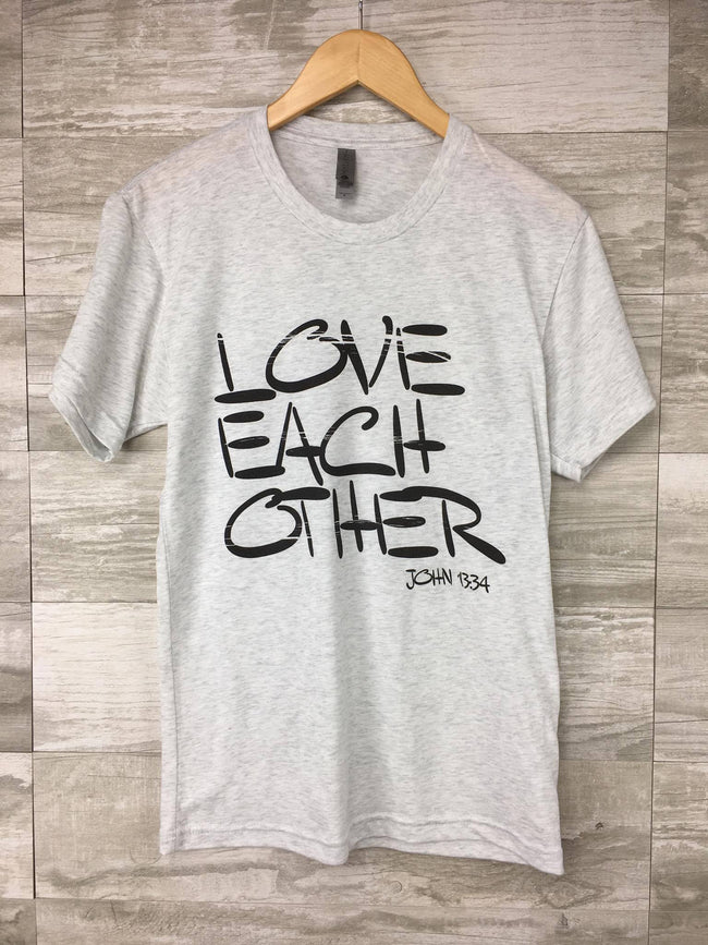 Love Each Other on Heather White SS Tee