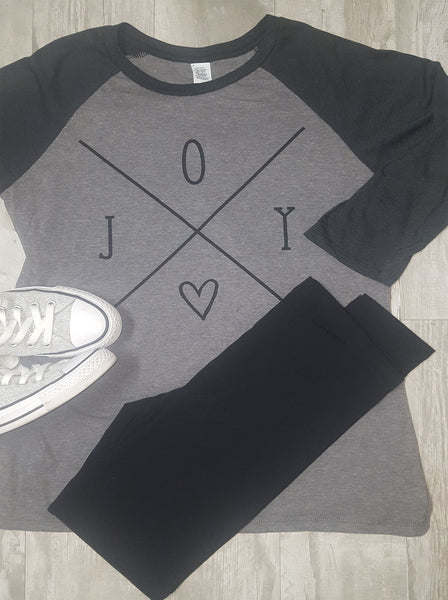 Joy Raglan on Gray with Black Sleeves