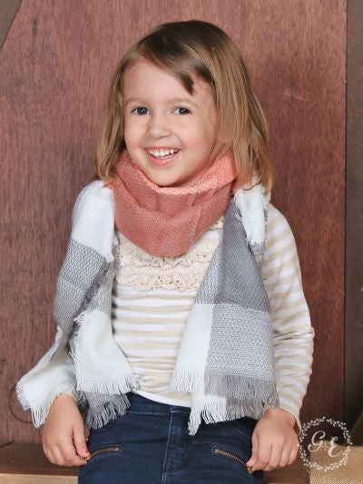 Girls' Pumpkin Spice Plaid Blanket Scarf