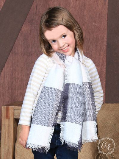 Girls' Soft & Sweet Plaid Blanket Scarf