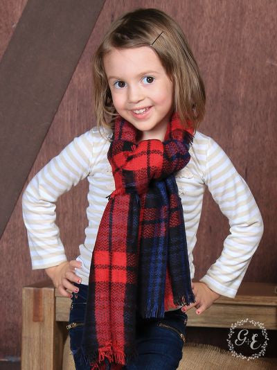 Girls' Preppy in Plaid Blanket Scarf