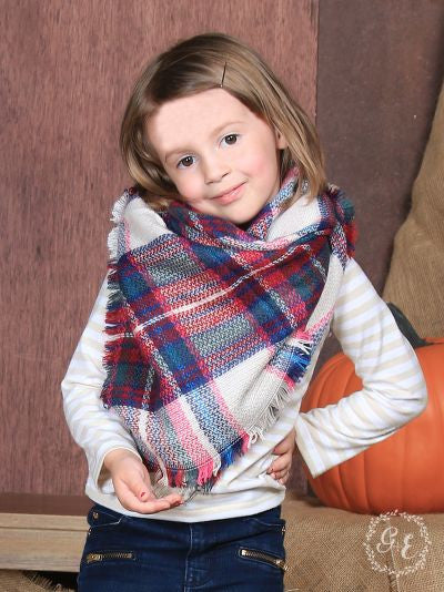 Girls' Winterberry Plaid Blanket Scarf