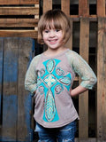 Kids Annabelle's Cross on Tan with 3/4 Teal and Gold Lace Sleeves