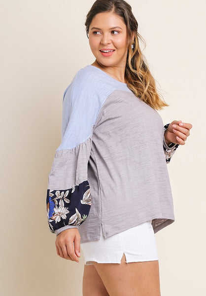 Curvy Girl Long Leaf Print Top
