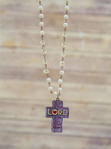 Trust in the Lord with all Your Heart Long Pearl Beaded Necklace