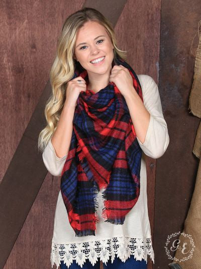 Preppy in Plaid Blanket Scarf