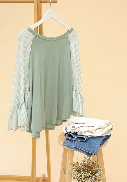 Striped Slub Knit Top Ruffled Bell Sleeve in Sage