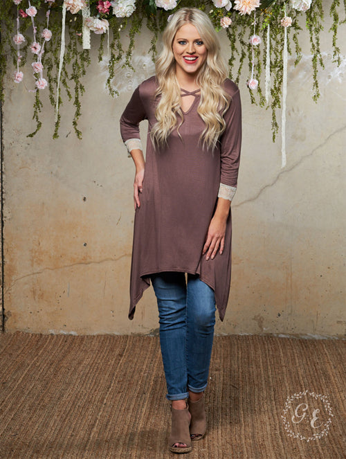 Mocha V-Neck Shark Bite Tunic with Lace Trim Sleeve