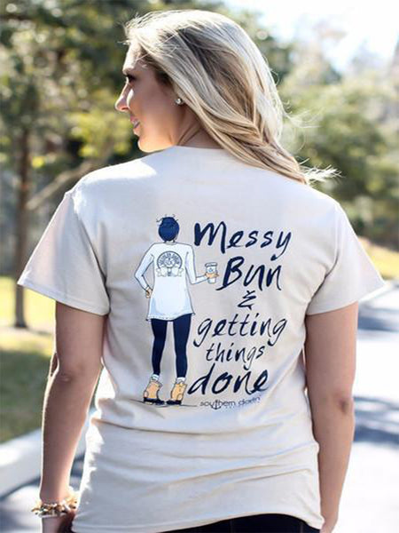 Messy Bun on Sand Short Sleeve