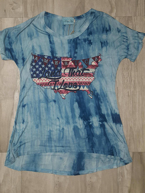 America Land That I Love on Blue Tye Dye Short Sleeve T-Shirt