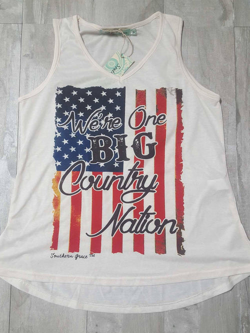 We're One Big Country Nation on Cream V-Neck Tank
