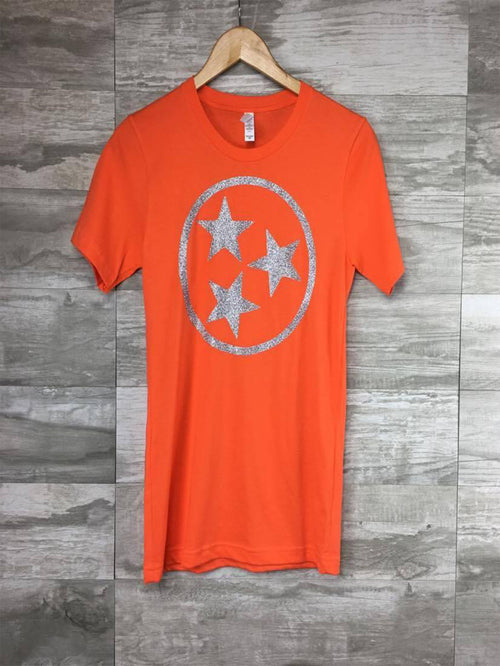Glitter Tri Star on Orange SS Tee **