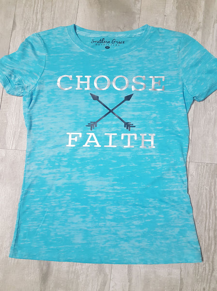 Choose Faith Arrows Burnout on Tahiti Blue