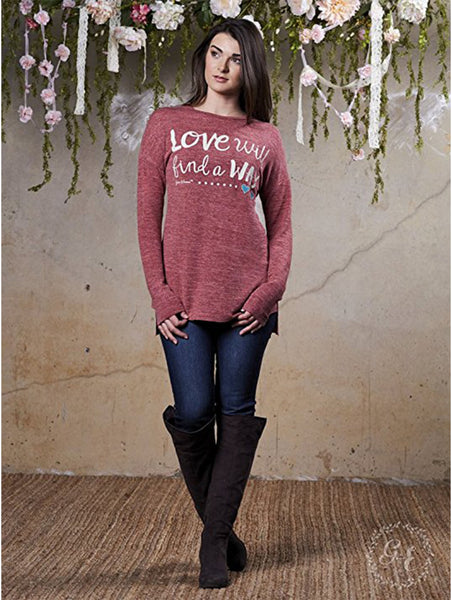 Love Will Find a Way Light Knit Maroon Long Sleeve