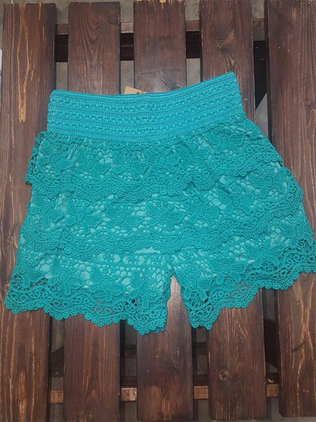 Turquoise Scallop Crochet Lace Shorts