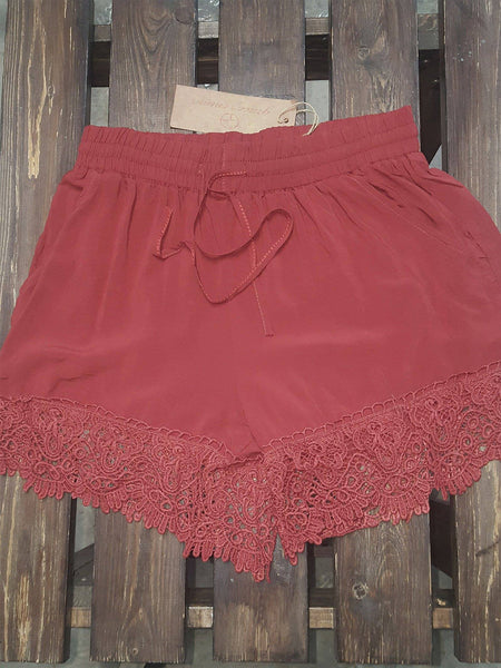 Copper Shorts with Lace Trim