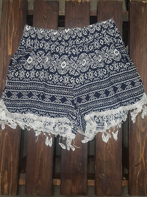Navy Aztec Shorts with Feather Lace Trim