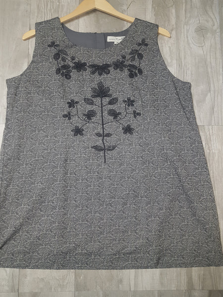 Embroidered Day Dress in Gray