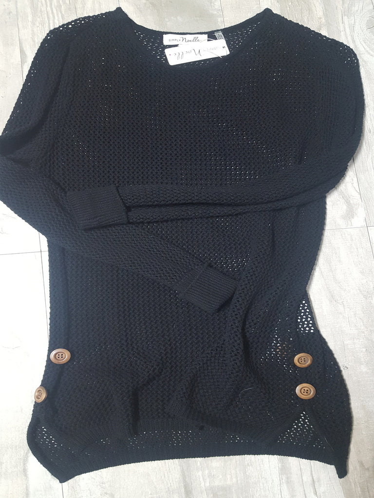 2954eeb65 Open Weave Sweater w Side Buttons in Black – Southern Grace Outfitters