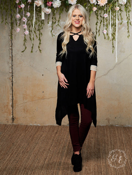 Solid Black 3/4 Sleeve Shirt with Crochet Lace