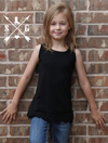 Kid's Solid Tank With Lace in Black