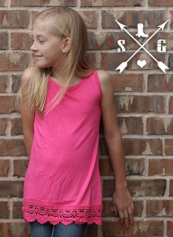 Kid's Solid Tank With Lace in Pink