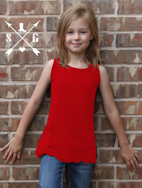 Kid's Solid Tank With Lace in Red