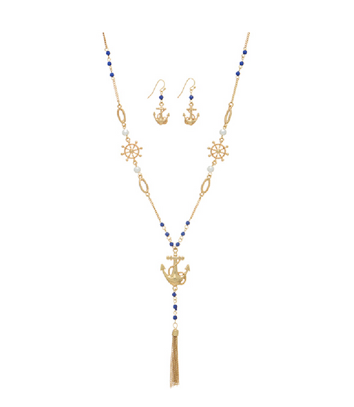 Gold Tone Beaded Anchor Necklace W/ Earrings - Southern Grace Outfitters