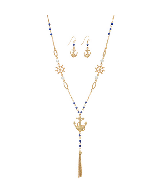 dd94c1a7d904a0 Gold Tone Beaded Anchor Necklace W/ Earrings - Southern Grace Outfitters
