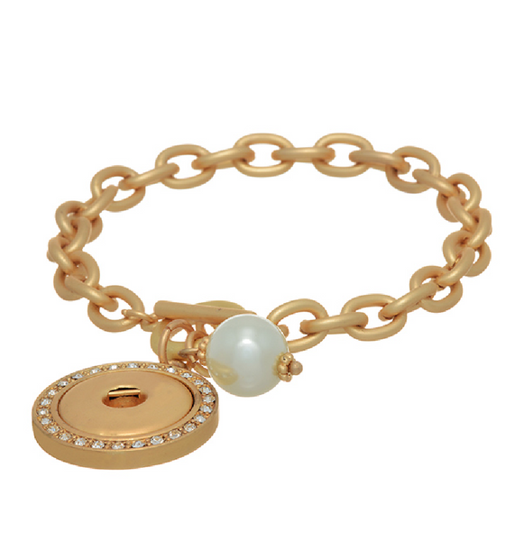 Jewelry - Snap Charm Bracelet In Matte Gold