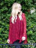 Grace & Emma Sheer Flower Maroon Knit Blouse